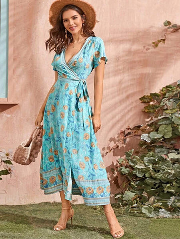 ANABELLA Wrap Maxi Dress-Dress- Boheme Junction