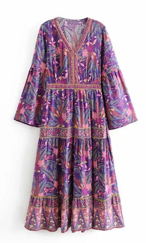 ARIBA Maxi Dress - Purple-Dress- Boheme Junction