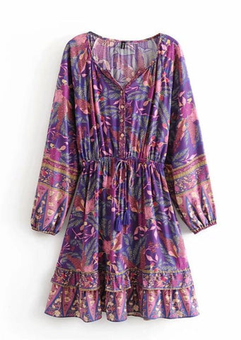 ARIBA Mini Dress - Purple ONE LEFT!-Dress- Boheme Junction
