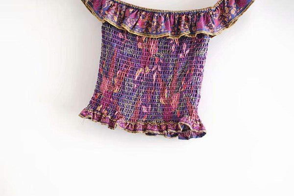 ARIBA Shirred Crop Top - Purple or Earth-Tops- Boheme Junction