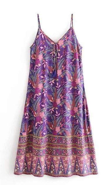 ARIBA Slip Midi Dress - Purple-Dress- Boheme Junction