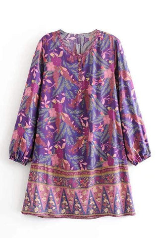ARIBA Tunic Mini Dress - Purple-Dress- Boheme Junction