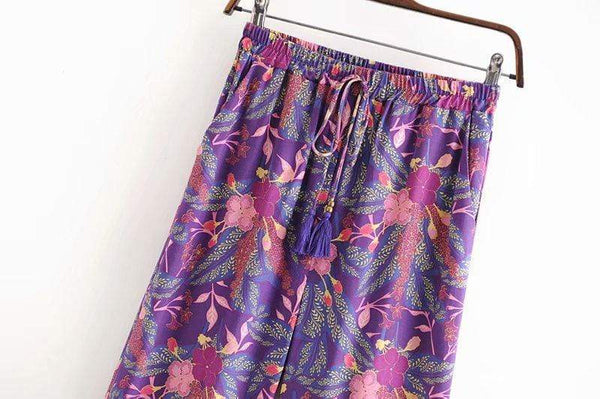 ARIBA Wide Leg Pants - Purple-Pants- Boheme Junction