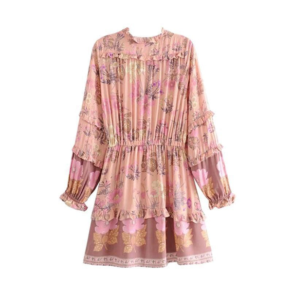 CHICA Mini Dress - Pink-Dress- Boheme Junction
