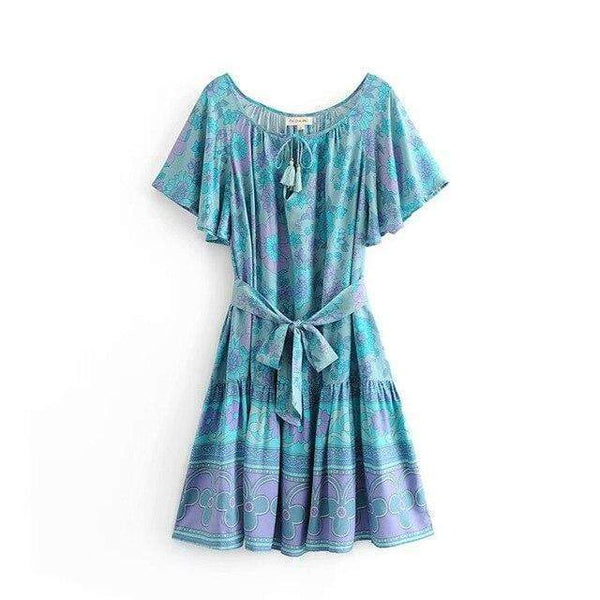 CORNFLOWER Mini Dress - ONE LEFT-Dress- Boheme Junction