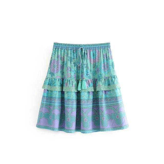 CORNFLOWER Mini Skirt-Skirts- Boheme Junction
