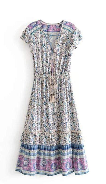 GARDEN GROVE Midi Dress - Blue Print-Dress- Boheme Junction