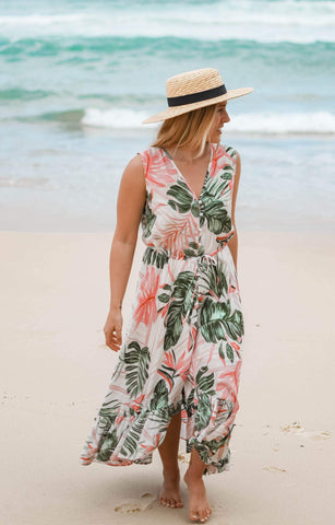 IPANEMA Ruffled Maxi Dress-Dress- Boheme Junction
