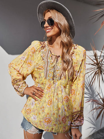 JENNA Blouse - Yellow-Top- Boheme Junction