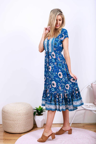 KAMARA Midi Dress - Blue-Dress- Boheme Junction