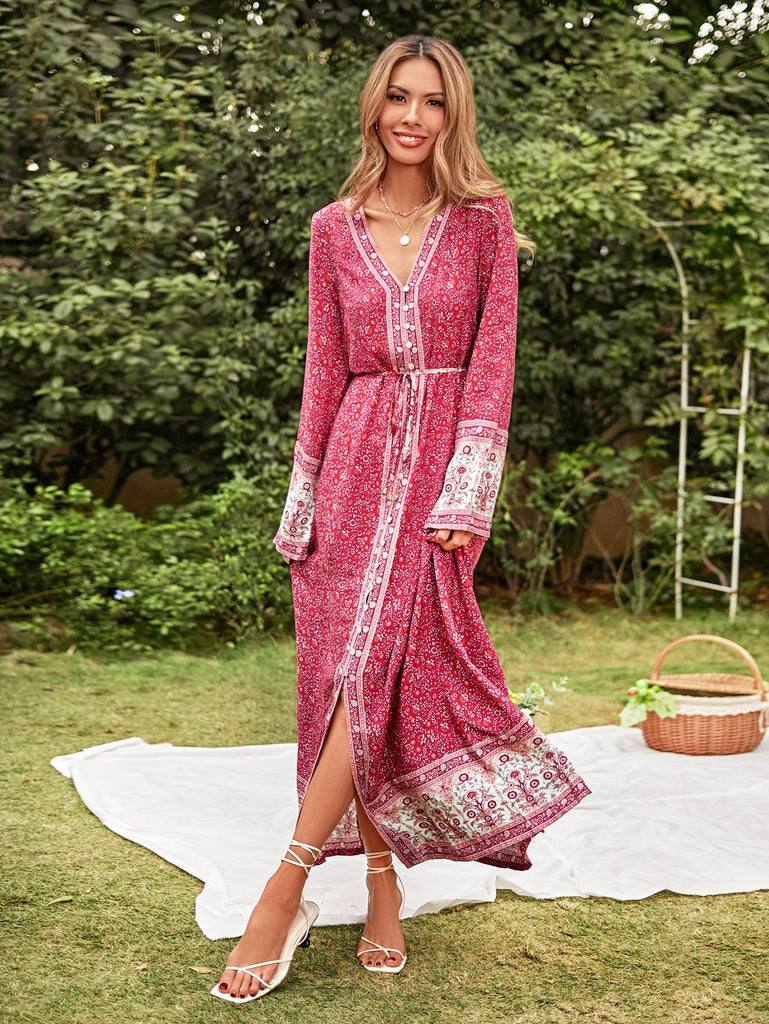 KHLOE Maxi Dress - Pink-Dress- Boheme Junction