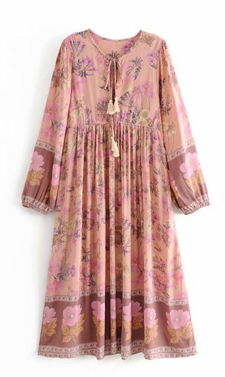 LOLA Midi Dress - Pink-Dress- Boheme Junction