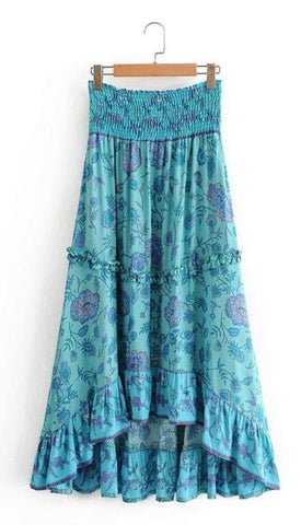 MISHA Midi Skirt - Blue-Skirts- Boheme Junction