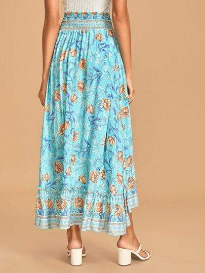 MOIRA Midi Skirt - Blue-Skirt- Boheme Junction