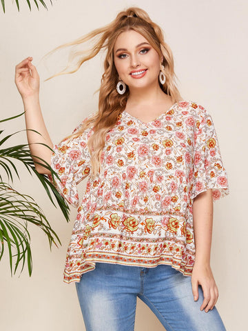 PLUS SIZE Carmine Blouse-Top- Boheme Junction