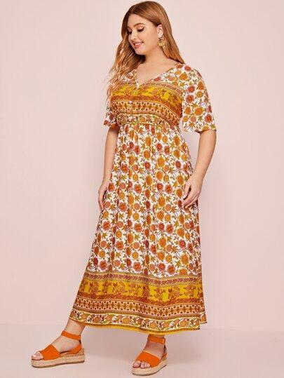 PLUS SIZE Koi Maxi Dress-Dress- Boheme Junction