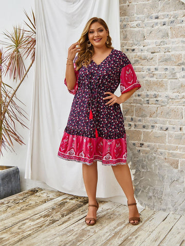 PLUS SIZE Maldives Midi Dress - Rosa-Dress- Boheme Junction