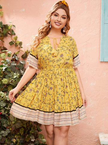 PLUS SIZE Sunshine Mini Dress-Dress- Boheme Junction