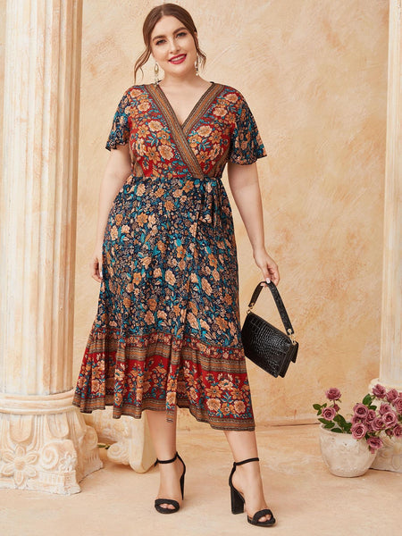 PLUS SIZE Tulah Wrap Midi Dress-Dress- Boheme Junction