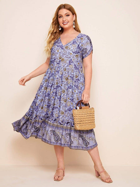 PLUS SIZE Violet Midi Dress - ONE LEFT!-Dress- Boheme Junction