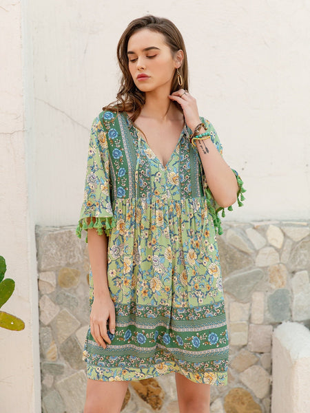 SHARA Mini Dress - Green-Dress- Boheme Junction