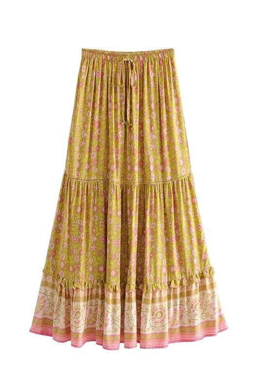 SYMPHONY Maxi Skirt - Mustard-Skirts- Boheme Junction