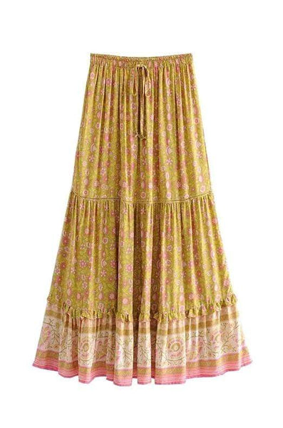 SYMPHONY Maxi Skirt - Yellow-Skirts- Boheme Junction