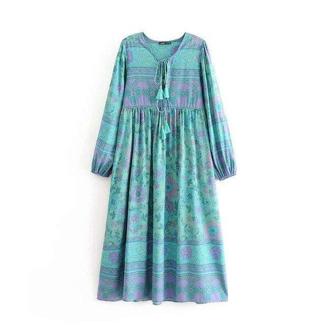 WOODSTOCK Midi Dress - Green-Dress- Boheme Junction
