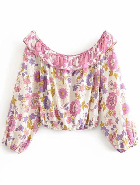 WOODSTOCK Off Shoulder Crop Top-Top- Boheme Junction