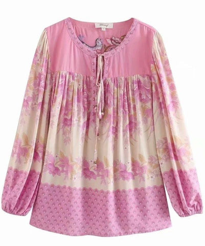 ZINNIA Blouse - Pink or Gold-Tops- Boheme Junction