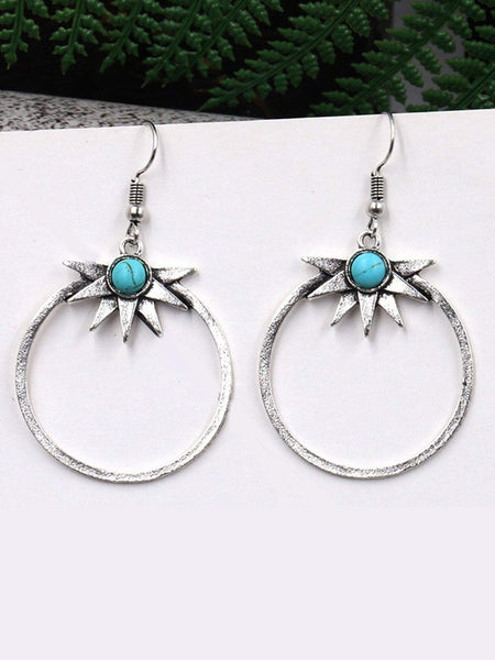 ZUNI Turquoise Hoop Drop Earrings-Earrings- Boheme Junction