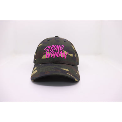 Strong Woman Camo Fitted Hat