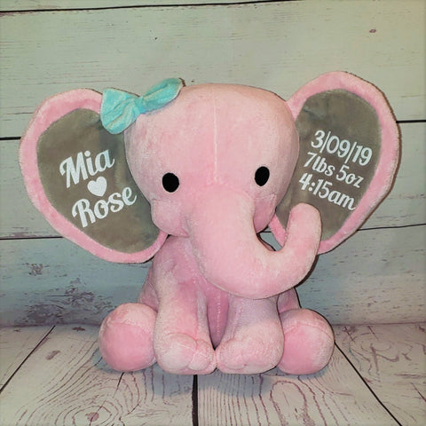 Personalized Stuffed Elephant Birth Stat Baby Girl Gift