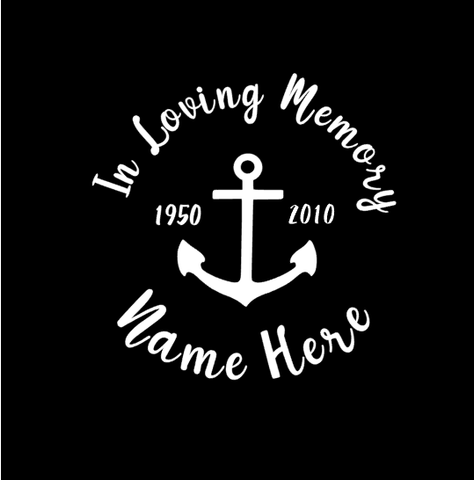 IN LOVING MEMORY ANCHOR DECAL