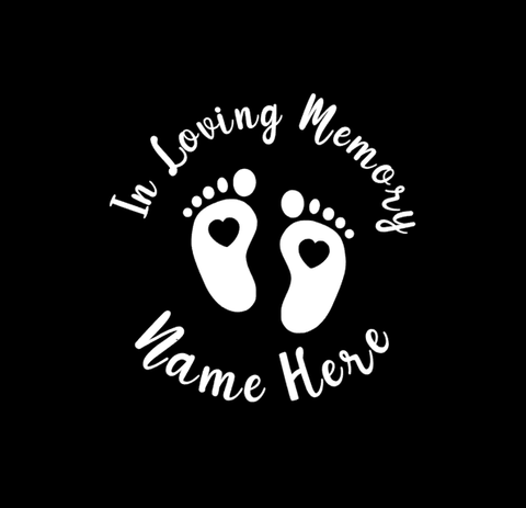 IN LOVING MEMORY BABY FEET DECAL