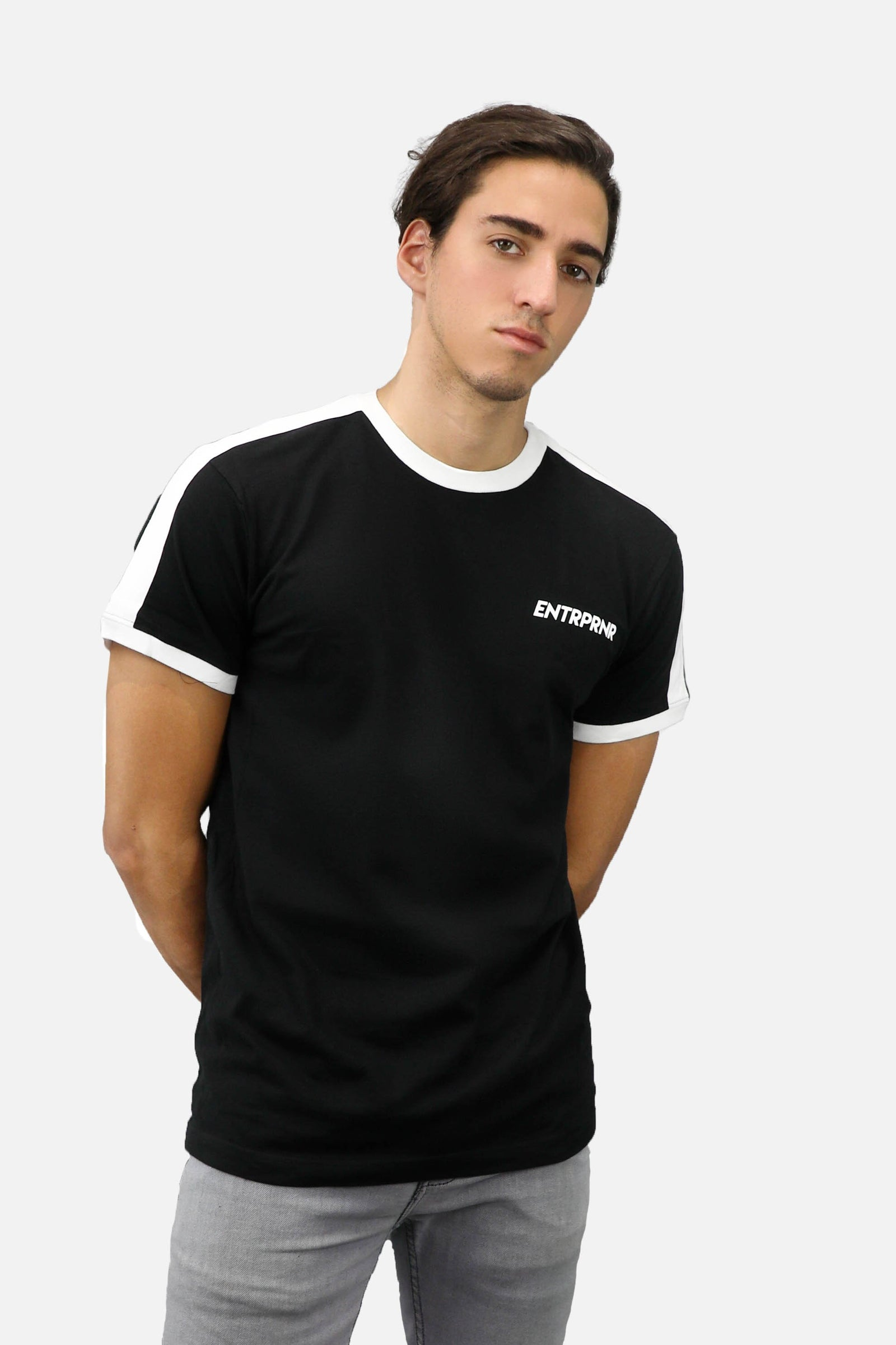 Athletic Ringer ENTRPRNR Tee – Black - ENTRPRNR® | The Entrepreneur's Clothing Brand. | Stagnancy is the Enemy. Action is King.