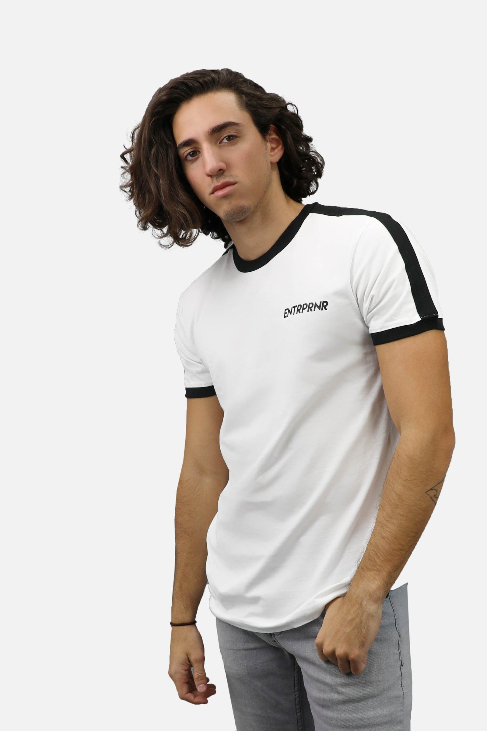 Athletic Ringer ENTRPRNR Tee – White - ENTRPRNR® | The Entrepreneur's Clothing Brand. | Stagnancy is the Enemy. Action is King.