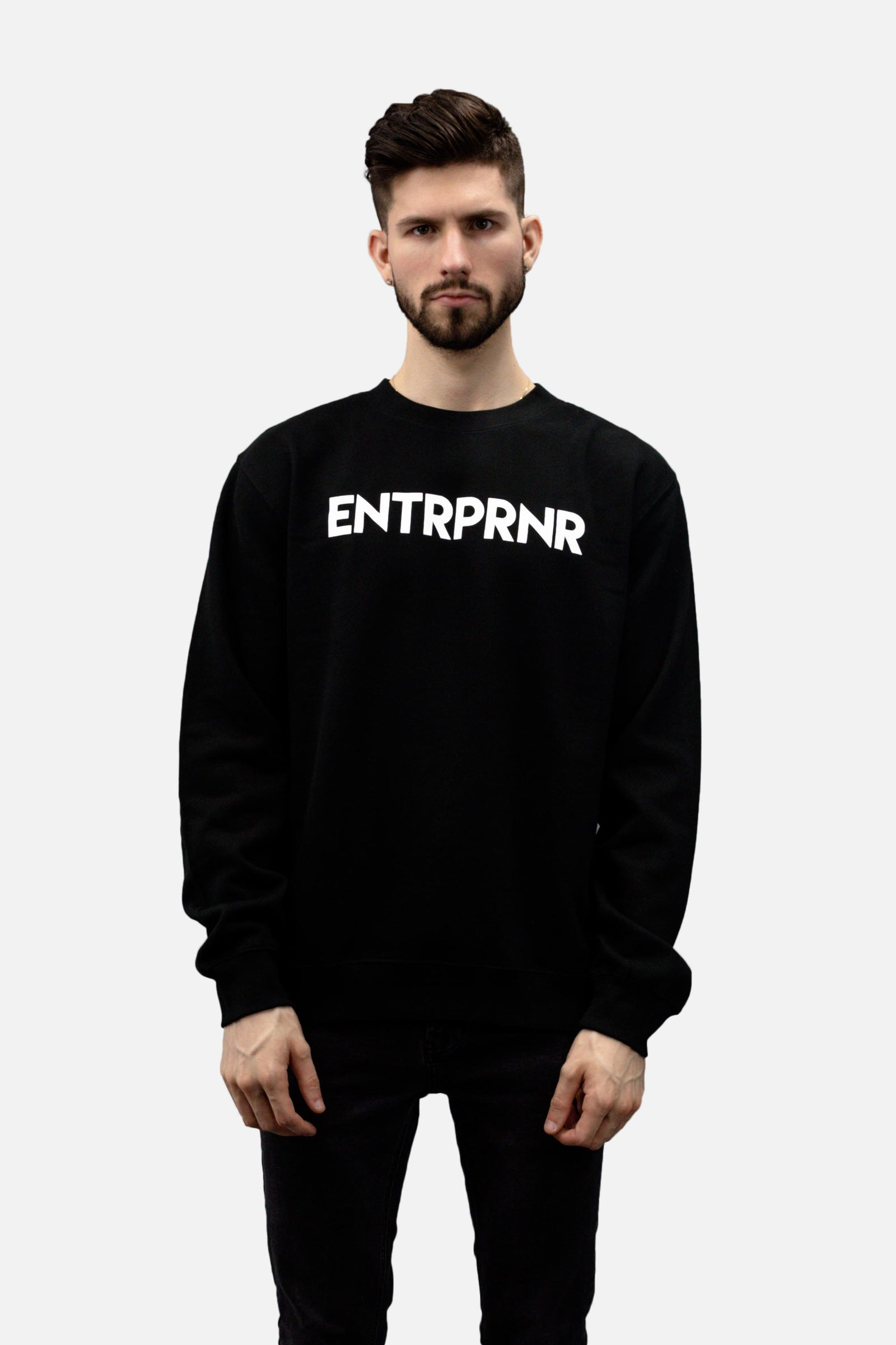 ENTRPRNR Logo Crew Neck - Black - ENTRPRNR® | The Entrepreneur's Clothing Brand. | Stagnancy is the Enemy. Action is King.