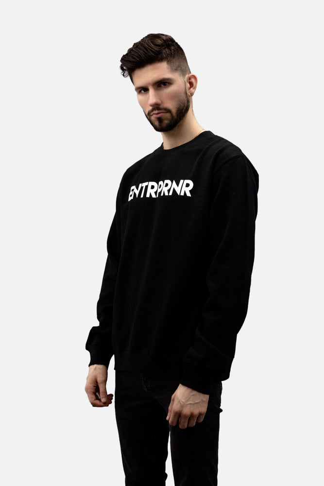ENTRPRNR Logo Crew Neck Sweater - Black - ENTRPRNR® | The Entrepreneur's Clothing Brand. | Stagnancy is the Enemy. Action is King.