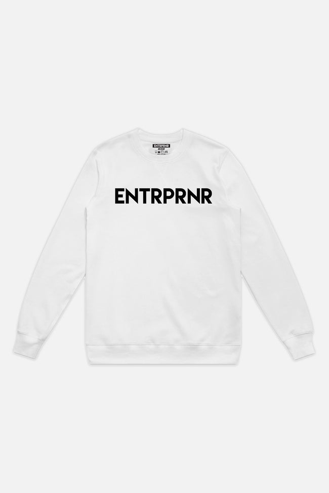 ENTRPRNR Logo Crew Neck Sweater - White - ENTRPRNR® | The Entrepreneur's Clothing Brand. | Stagnancy is the Enemy. Action is King.