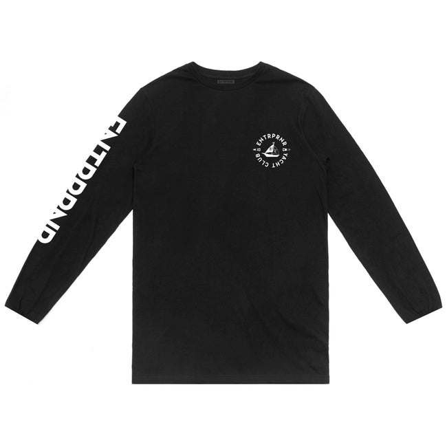 ENTRPRNR Yacht Club Long Sleeve - Black - ENTRPRNR® | The Entrepreneur's Clothing Brand. | Stagnancy is the Enemy. Action is King.