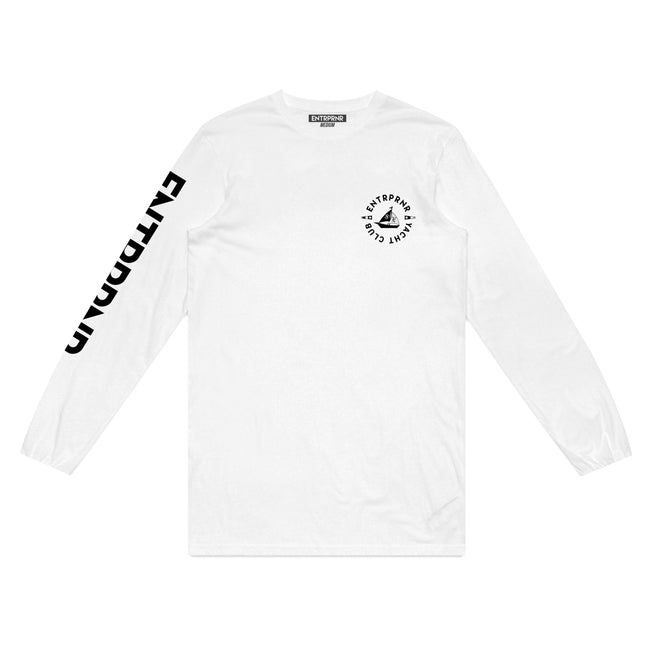 ENTRPRNR Yacht Club Long Sleeve – White - ENTRPRNR® | The Entrepreneur's Clothing Brand. | Stagnancy is the Enemy. Action is King.