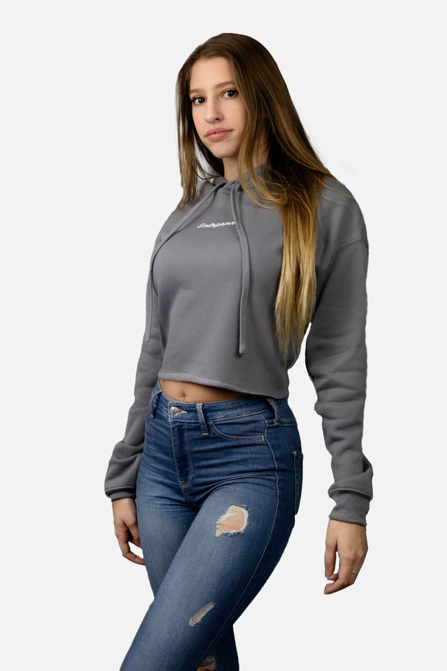 Women's Slate Crop Top ENTRPRNR Hoodie - Grey - ENTRPRNR® | The Entrepreneur's Clothing Brand. | Stagnancy is the Enemy. Action is King.