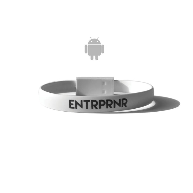 ENTRPRNR Micro USB Bracelet (Android) - White - ENTRPRNR® | The Entrepreneur's Clothing Brand. | Stagnancy is the Enemy. Action is King.