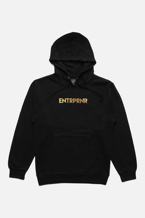 Gold Logo ENTRPRNR Hoodie - Black - ENTRPRNR® | The Entrepreneur's Clothing Brand. | Stagnancy is the Enemy. Action is King.