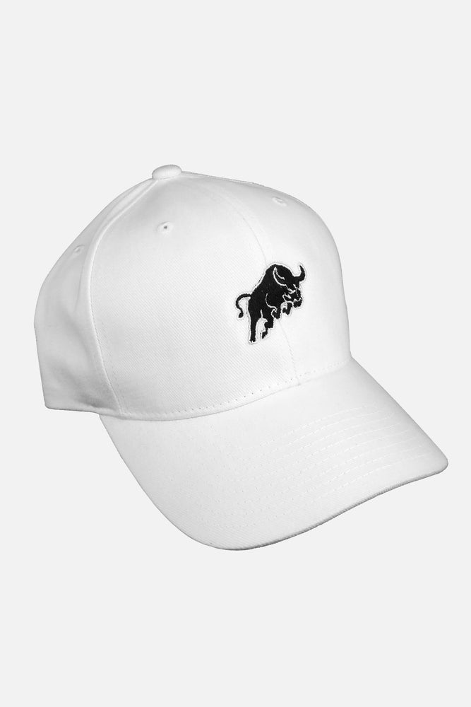 ENTRPRNR Bull Strap Back Hat – White - ENTRPRNR® | The Entrepreneur's Clothing Brand. | Stagnancy is the Enemy. Action is King.