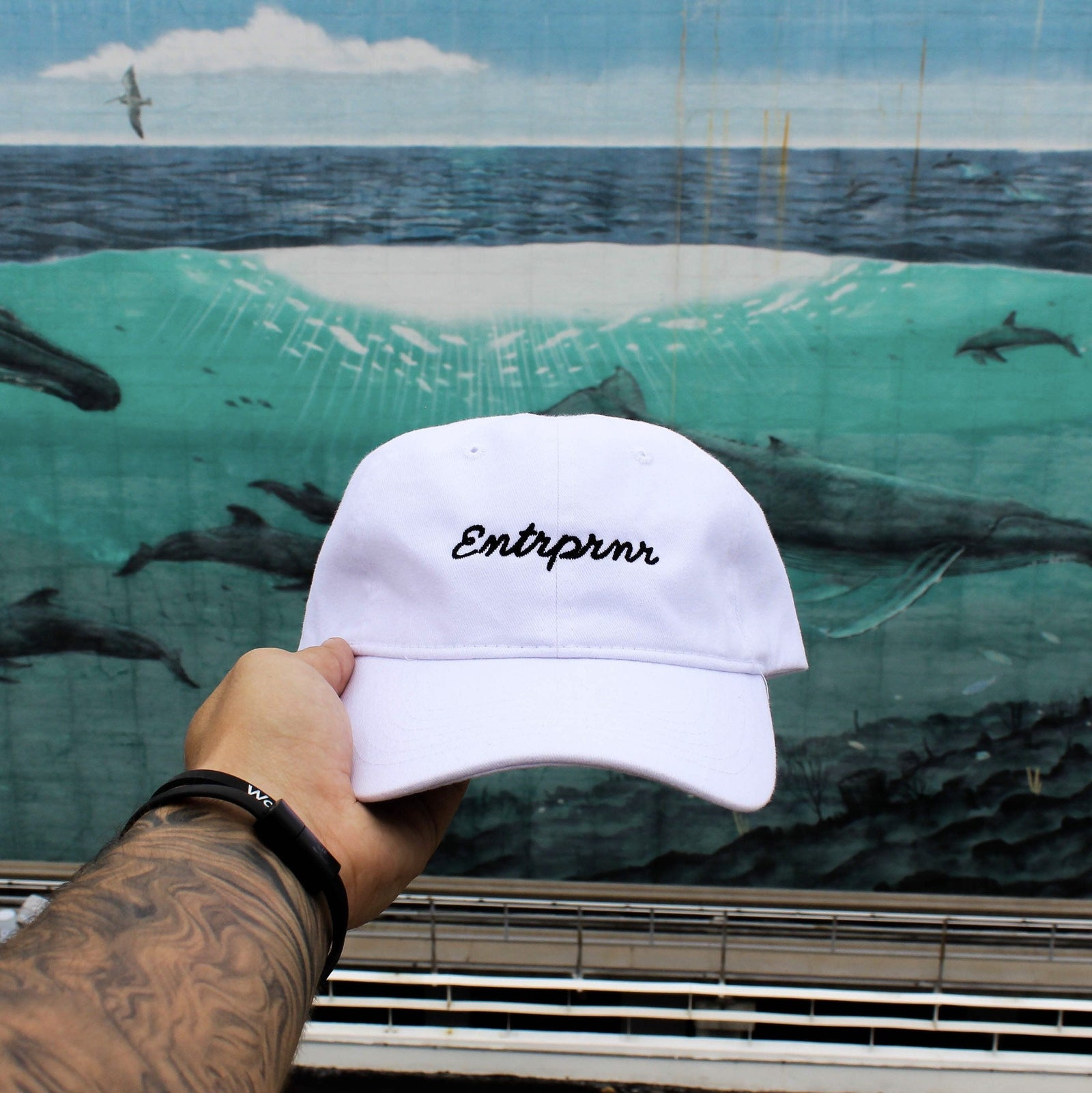Headwear - ENTRPRNR Cursive Strap Back Hat - White