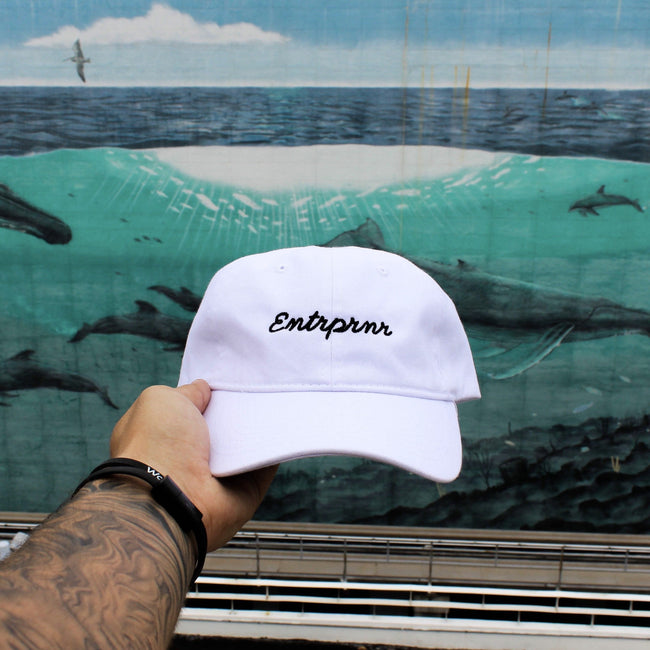 ENTRPRNR Cursive Strap Back Hat - White - ENTRPRNR® | The Entrepreneur's Clothing Brand. | Stagnancy is the Enemy. Action is King.