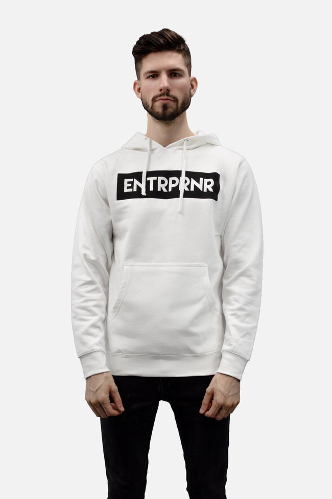 Classic ENTRPRNR Hoodie - White - ENTRPRNR® | The Entrepreneur's Clothing Brand. | Stagnancy is the Enemy. Action is King.