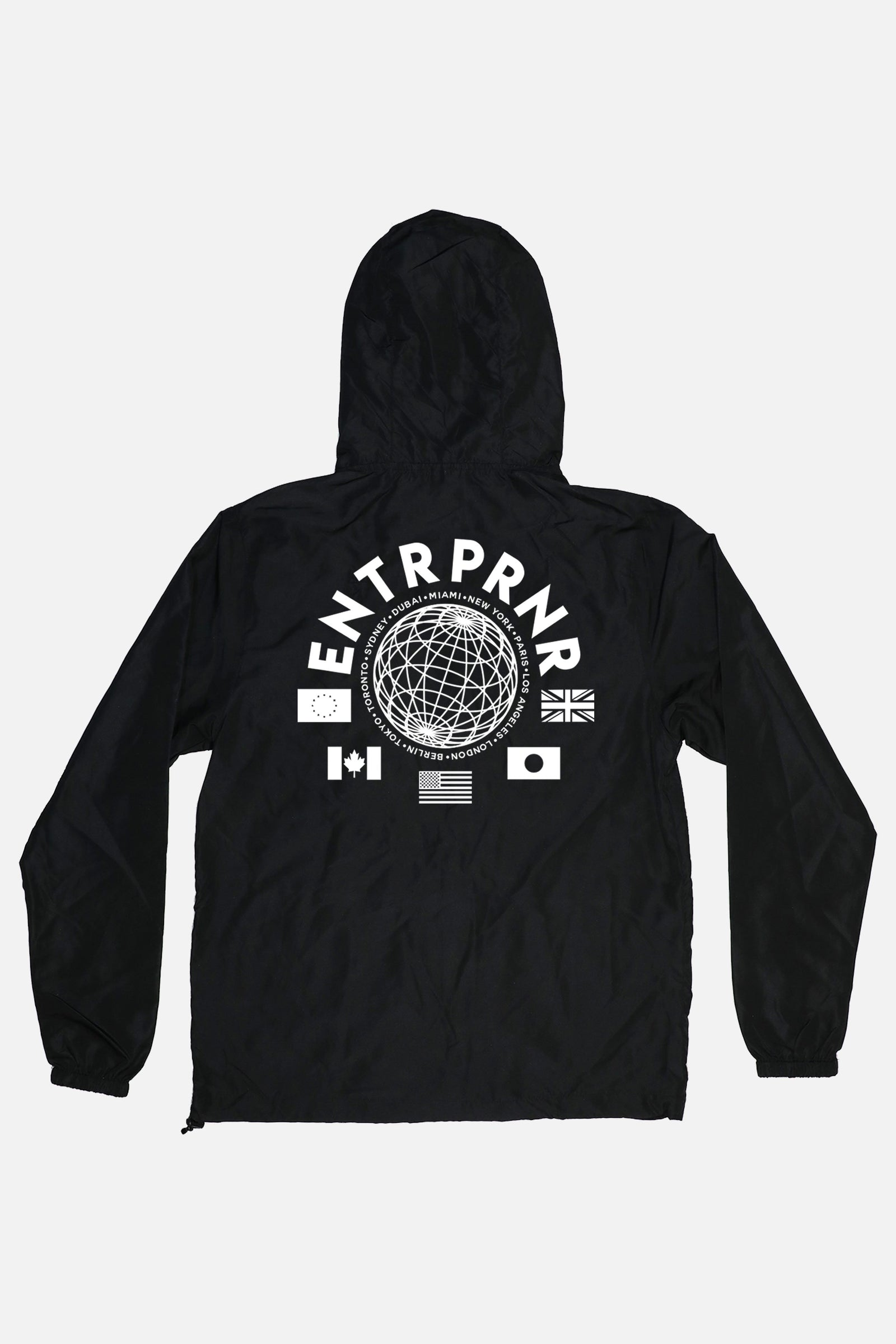 ENTRPRNR Worldwide Windbreaker - Black - ENTRPRNR® | The Entrepreneur's Clothing Brand. | Stagnancy is the Enemy. Action is King.